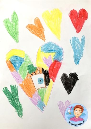 Teken een fantasie-oog met kleuters, kleuteridee, thema het oog, Kindergarten eye theme 2.