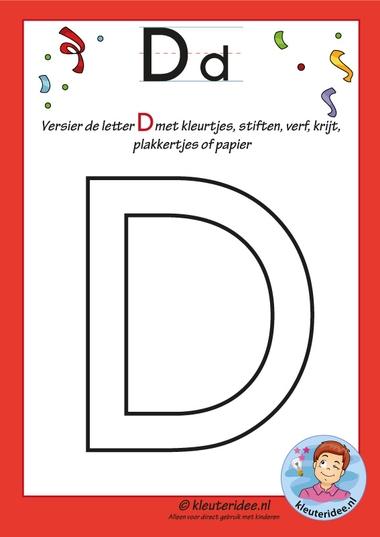 Pakket over de letter d blad 4, versier de hoofdletter D, letters aanbieden aan kleuters, kleuteridee, free printable.