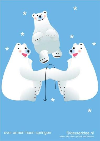 Bewegingskaarten ijsbeer voor kleuters 12 , over armen heen springen , kleuteridee.nl, thema Noorpool, Movementcards for preschool, free printable
