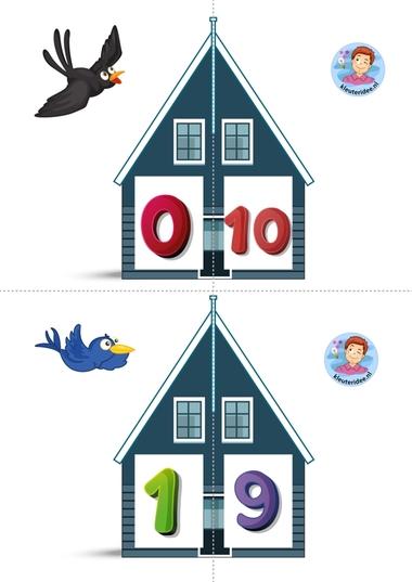 Vrienden van 10 1 kleuteridee.nl, free printable, Twee halve huizen aan elkaar, is precies 10 bij elkaar
