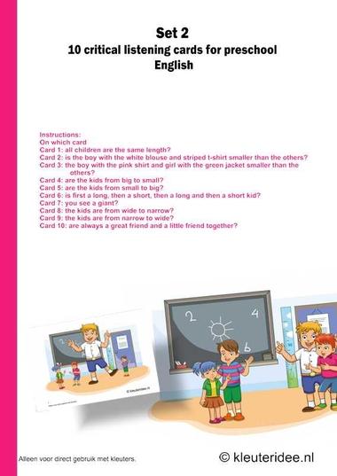 Users manual critical listening preschool 10 cards for preschool set 2, kleuteridee.nl , free printable.