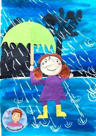 collage kind in de regen, thema water, kleuteridee