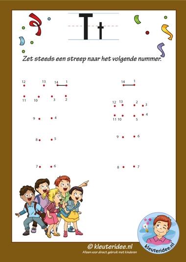 Pakket over de letter t blad 13, verbind de punten, kleuteridee, free printable k
