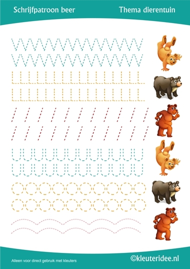Schrijfpatroon beer, thema dierentuin, juf Petra van Kleuteridee, preschool bear writing pattern, free printable.