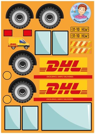 Knipvellen pakketauto's kleuteridee DHL