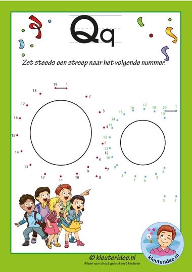 Pakket over de letter q blad 13, verbind de punten, kleuteridee, free printable