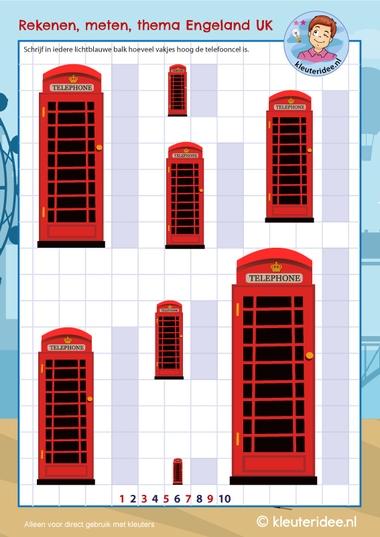 Meten, telefooncel, thema Engeland UK , kleuteridee, free printable