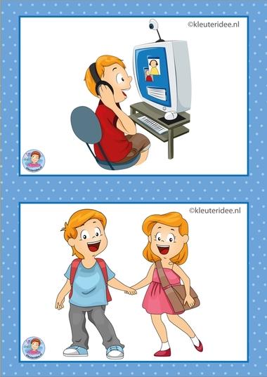9 Computer en naar huis. 8 Buiten spelen en knutselen. 32 dagritmekaarten voor kleuters, juf Petra kleuteridee / Preschool schedule cards