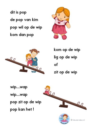 pop op de wip, verhaaltje voor kleuters die beginnen te lezen, AVI-start, kleuteridee.nl