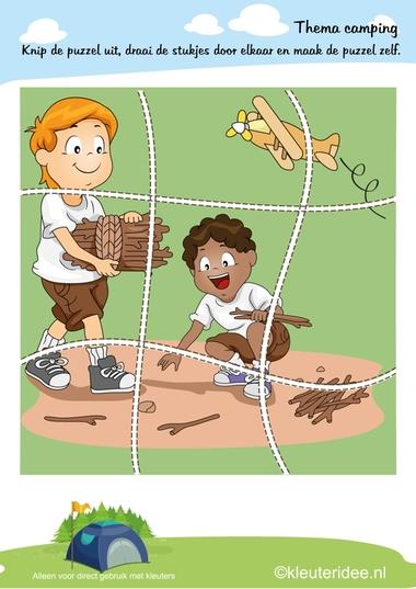 Puzzel kamperen , thema camping 2, kleuteridee , Preschool puzzle, camping theme, free printable.