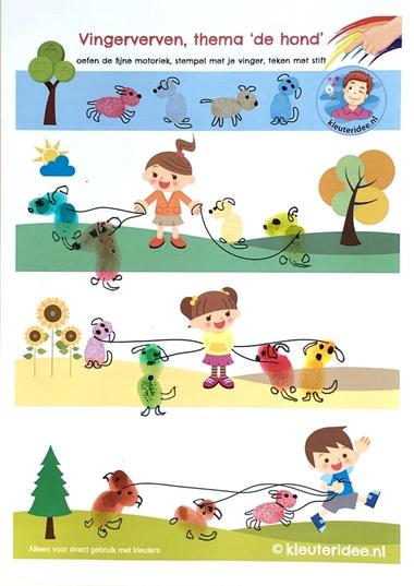 Honden maken met vingerverf, thema de hond, kleuteridee, Kindergarten dog theme, free printable 3