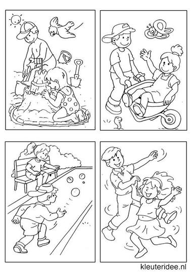 Kleine kleurplaatjes 4, kleuteridee.nl , deze kleurplaatjes maken kleuters echt af ;), free printable.