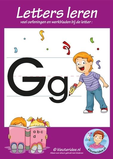 Pakket over de letter g blad 1, voorkant, letters aanbieden aan kleuters, kleuteridee.nl, free printable.