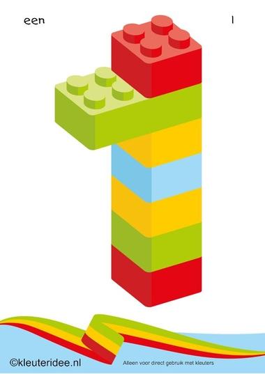 Cijfers van lego 1 -10 voor kleuters, nummer 1 , kleuteridee.nl , lego numbers for preschool 1-10 , free printable.