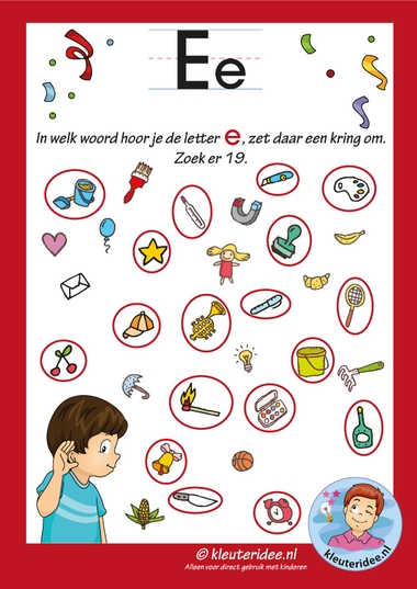 Pakket over de letter e blad 9, in welk woord hoor je een e, antwoorden, letters aanbieden aan kleuters, kleuteridee, free printable.