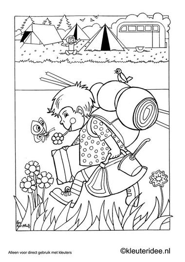 Kleurplaat thema camping 1, kleuteridee.nl , preschool camping coloring.
