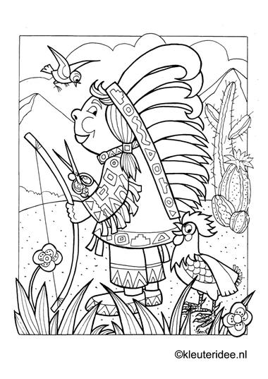 Indianenmeisje, kleurplaat op kleuteridee, native American girl, free printable coloringpage.