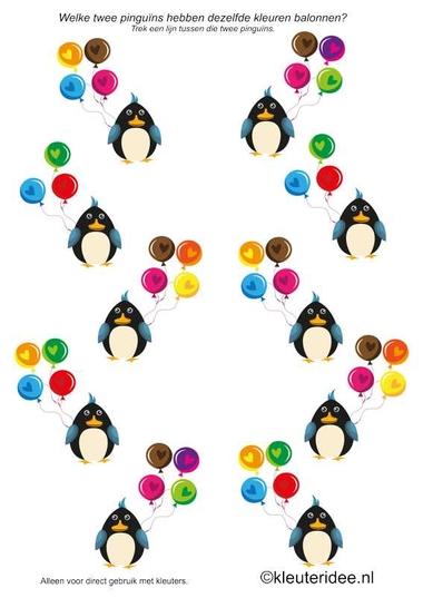 Pinguïns, zoek dezelfde kleur ballonnen, kleuteridee, Pinguïn balloon color matching for preschool , free printable.
