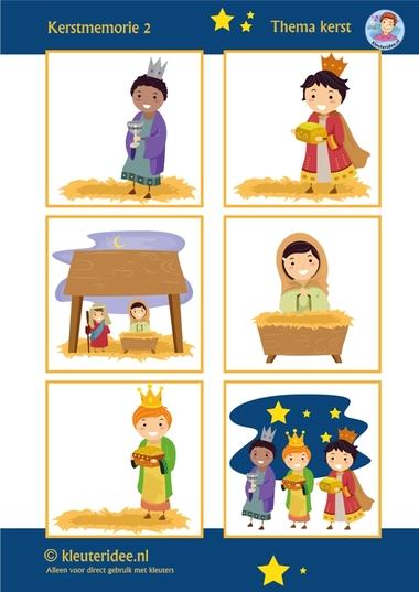 Kerstmemorie voor kleuters 2, thema kerst, juf Petra kleuteridee, Preschool christmas memory game, wise men, free printable.