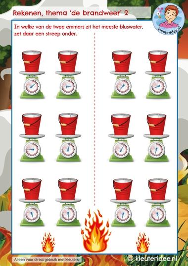 Rekenen thema de brandweer, kindergarten math firefighters theme, kleuteridee 2