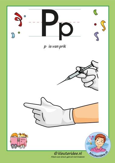 Pakket over de letter p blad 2, letterkaart met een p, kleuteridee, free printable