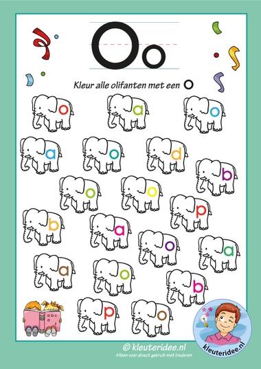 Pakket over de letter o blad 7, kleur alle olifanten met een o, kleuteridee, free printable