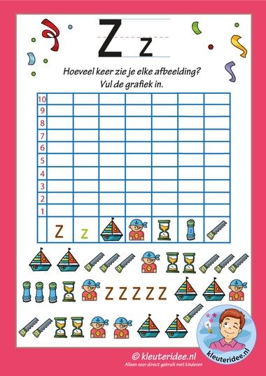 Pakket over de letter z blad 14, grafiek met de letter z, letters aanbieden aan kleuters, kleuteridee, free printable k