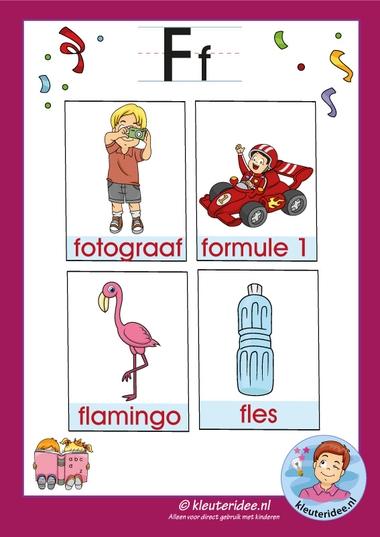 Pakket over de letter f blad 3a, woordkaarten met een f, kleuteridee, free printable.