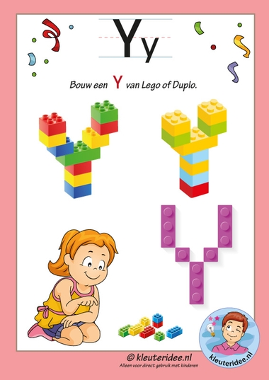 Pakket over de letter y blad 16, maak een y van lego of duplo, kleuteridee, free printable