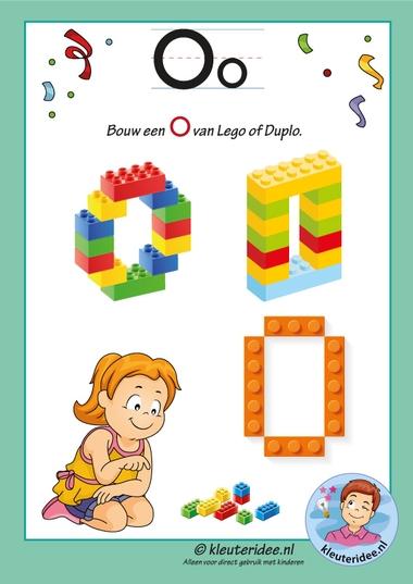 Pakket over de letter O blad 16, maak een O van lego of duplo, kleuteridee, free printable