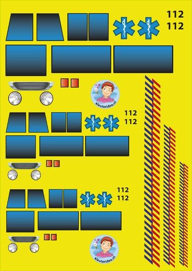 knipvel ramen en tekst voor ambulance, kleuteridee