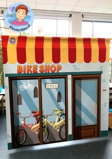 Mat voor fietsenwinkel in de klas, kleuteridee
