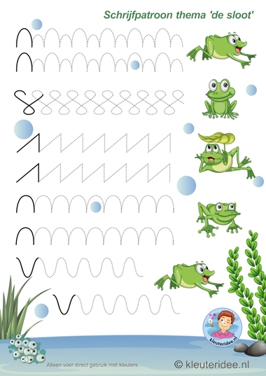 Schrijfpatroon voor kleuters, thema 'de sloot' 1, kleuteridee, preschool pond theme.
