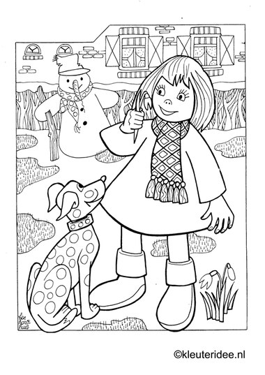 Kleurplaat sneeuwpop in de winter , kleuteridee.nl , snowman in the winter 3 preschool coloring.