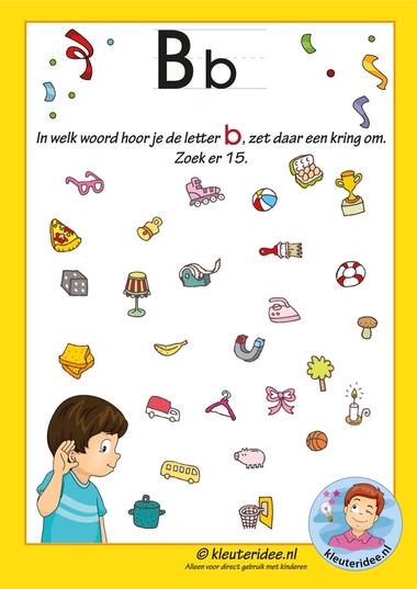 Pakket over de letter b blad 8, in welk woord hoor je een b, letters aanbieden aan kleuters, kleuteridee.nl, free printable.