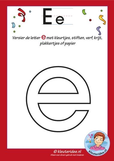 Pakket over de letter e blad 4, versier de letter e, letters aanbieden aan kleuters, kleuteridee, free printable.