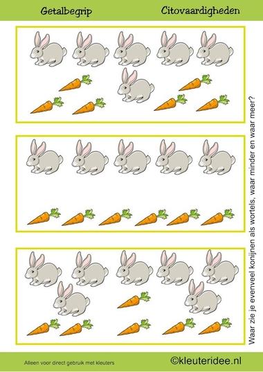 Citovaardigheden voor kleuters, kleuteridee.nl ,meten en getalbegrip, Waar zie je evenveel, waar meer en waar minder wortels dan konijnen 3 , rekenen voor kleuters.