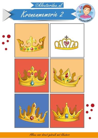 Kronenmemorie bij thema koningsdag 2, kleuteridee.nl, Crownmemory free printable.