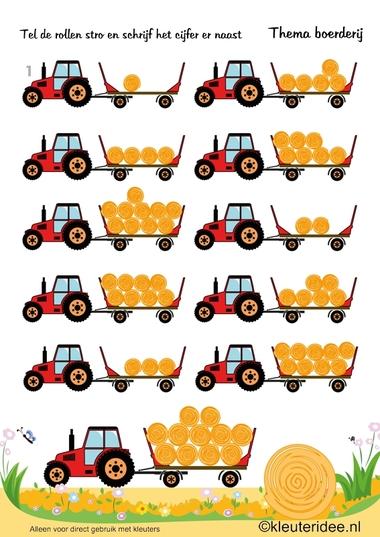 Rollen stro tellen, thema boerderij, kleuteridee , Preschool farm theme, free printable.