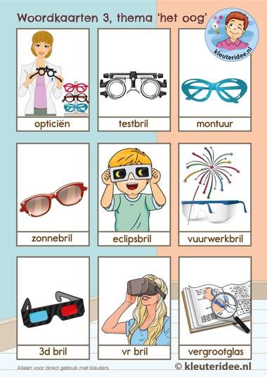 Woordkaarten thema 'het oog' voor kleuters,kleuteridee, Kindergarten eye theme 3.