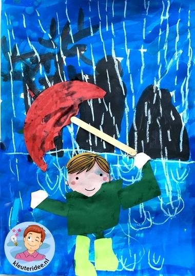 collage kind in de regen, thema water, kleuteridee 3