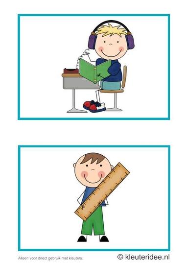 Dagritmekaarten voor kleuters 17, kleuteridee.nl , luisterhoek en meten , daily schedule cards for preschool 17, free printable.
