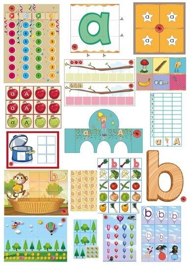 Letterpakket bij de letter a en b, 10 verschillende educatieve spellen van juf Petra van kleuteridee.nl