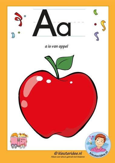 Pakket over de letter a blad 2, letterkaart, letters aanbieden aan kleuters, kleuteridee.nl, free printable.