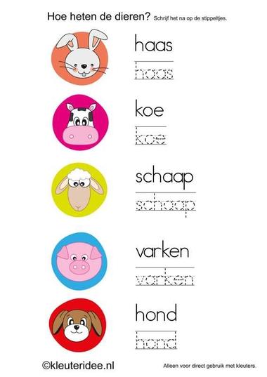 Dierennamen naschrijven in de schrijfhoek, kleuteridee.nl , free printable.
