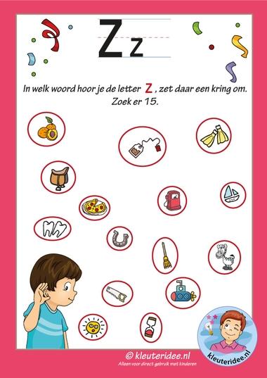Pakket over de letter z blad 8, in welk woord hoor je een z antwoorden , letters aanbieden aan kleuters, kleuteridee, free printable k