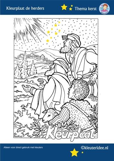 Kleurplaat de herders in het veld 2, thema Kerst voor kleuters, kleuteridee, free printable.