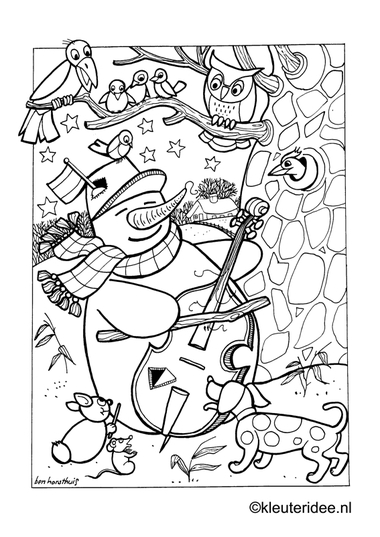 Kleurplaat sneeuwpop in de winter , kleuteridee.nl , snowman in the winter 4 preschool coloring.