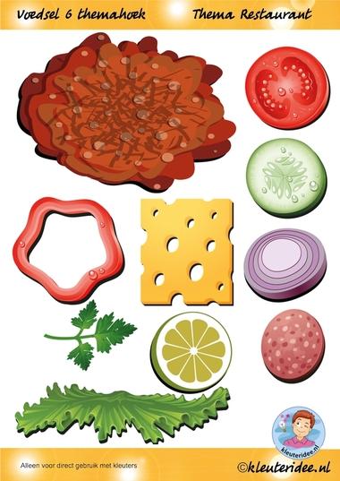 Voedsel 6 themahoek, thema restaurant, juf Petra van kleuteridee.nl, Restaurant role play,food, free printable.