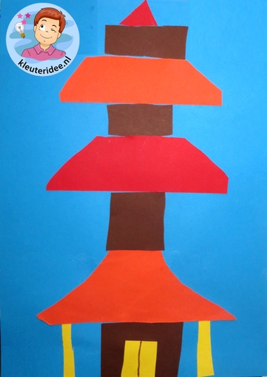 Chinese pagode knippen en plakken, thema China, kleuteridee.nl